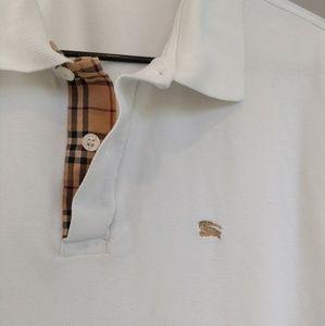 Burberry London Polo Shirt Medium White with Beige